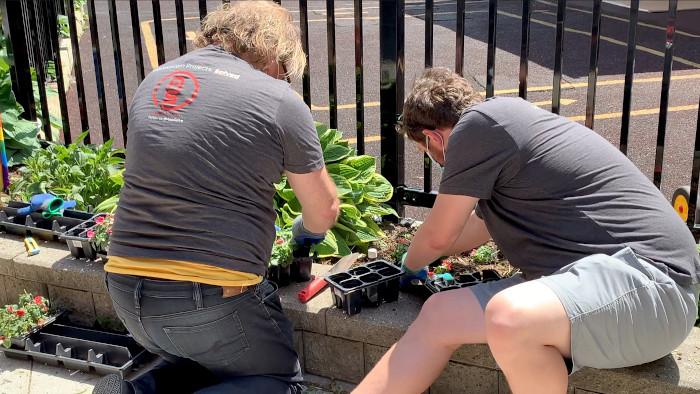 Skot and Kyle planting